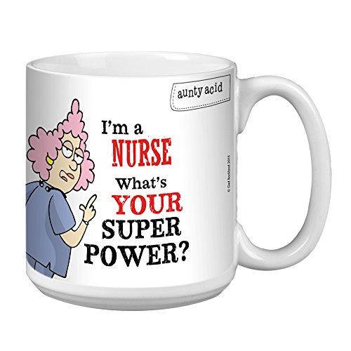 Nurse Super Power Extra große Tasse 570 ml Jumbo Keramik Kaffeetasse Aunty Acid, lustiges Geschenk für Krankenschwester, Tag/Woche XM41428 Tree-Free Greetings