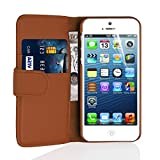 JAMMYLIZARD Lederhülle für iPhone SE und iPhone 5 / 5s | Ledertasche [ Wallet Tasche Series ] Leder Book Case Hülle Flip Cover Schutzhülle mit Kartenfach, Braun