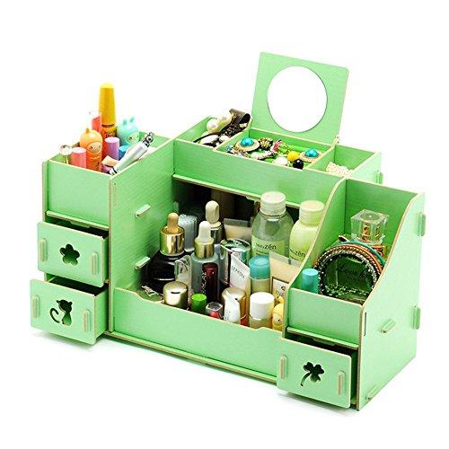 QQIBABY Kosmetik, die hölzernen Schublade mit Einem Spiegel schlichten Gehäuse Desktop große DIY-Tabelle Schreibwaren Lippenstift Skin Care Produkte Schmuck Dressing Box Kamelien - Dressing Feld C -