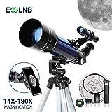 ESSLNB 70mm Telescope Astronomique pour Enfant Adulte avec Adaptateur Téléphonique Trépied Réglable 3X Barlow Lentille Filtre de Lune pour Débutants
