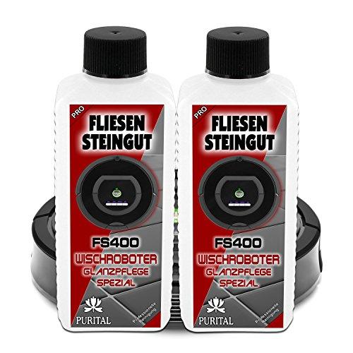 GREEN24 Doppelpack FS400 Fliesen, Feinsteinzeug Glanz-Reiniger für Wischroboter, Nasswisch-Roboter, Reinigungsroboter und Bodenwischroboter - Reinigungsmittel und Pflegemittel