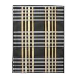 Alfombra de Salón o Comedor, Negra, con Rayas Blancas y Amarillas, de Bambú Natural 180 X 250cm Natur, 180x250 - Hogar y Más