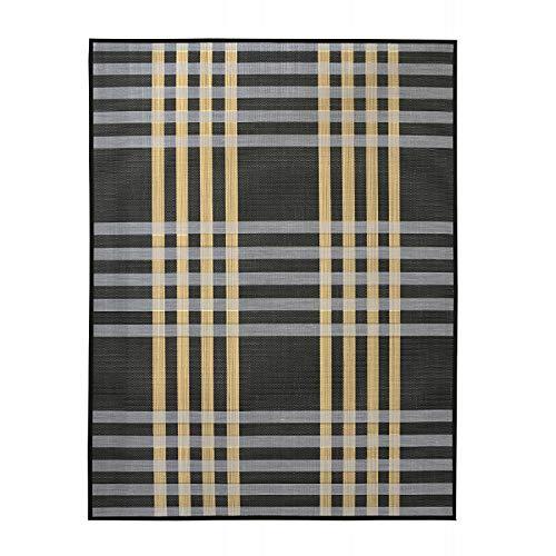 Alfombra de Salón o Comedor, Negra, con Rayas Blancas y Amarillas, de Bambú Natural 180 X 250cm Natur...