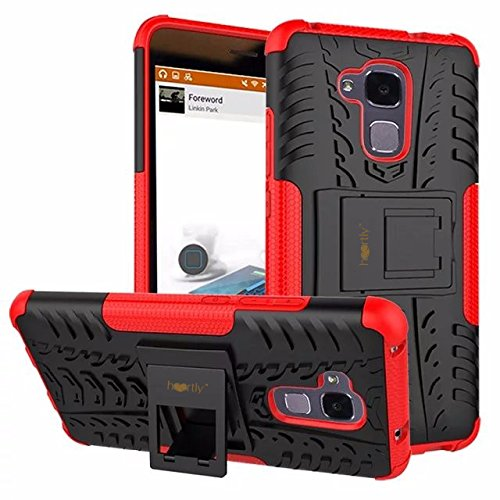 Heartly Huawei Honor 5C Back Cover Kick Stand Rugged Shockproof Tough Hybrid Armor Dual Layer Bumper Case - Hot Red