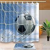 vrupi Sporter Fußball-Dekoration, 3D-Rendering eines Fußballballs in Einem Netz, 180,9 x 180,3 cm, schimmelresistenter Polyester-Stoff, Duschvorhang, mit 39,9 x 59,9 cm, Flanell-Fußmatte,...