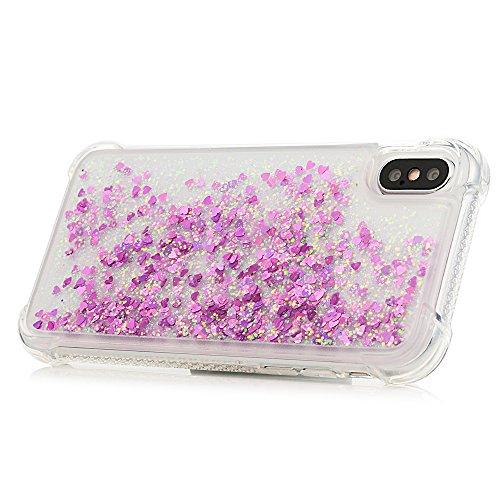 MAXFE.CO Schutzhülle Tasche Case für iPhone X TPU Silikon Cover Einfarbig Etui Protective Schale Bumper Bling Herzen Diamanten Bunt Rose Rot