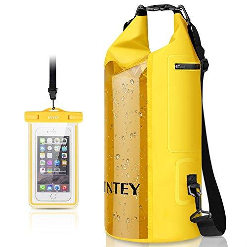 INTEY Wasserdichte Tasche 10/20L/30L Dry Bag mit Langer Verstellbaren Tragegurte Trockentasche, inkl. Wasserfeste Handyhülle, geeignet für Wassersport Wie Surfen, Paddeln, Rafting - Verstellbare Paddel-design