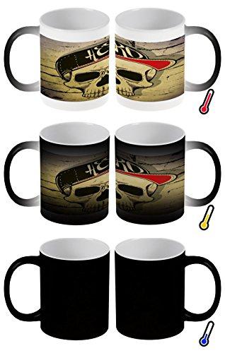LEotiE SINCE 2004 Zaubertasse Farbwechseltasse Kaffeebecher Tasse Becher Latte Cappuccino Espresso Nostalgie Hero Totenschädel
