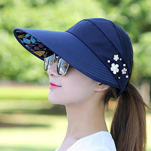 Lgk & fa estate sandali da donna per il tempo libero estivo Cappello all-match Marea UV coreano primavera estate pieghevole parasole Cap, A watermelon red Navy Blue