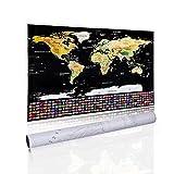 Homein Weltkarte Zum Rubbeln Scratch Off World Map Geschenke Reisen Poster Landkarte mit Fahnen Travel Karte Zum Freirubbeln auf Englisch Schwarz Gold 82 x 59 cm