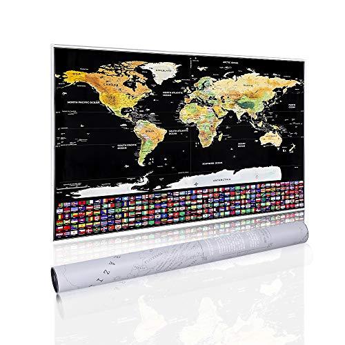 (Homein Weltkarte Zum Rubbeln Scratch Off World Map Geschenke Reisen Poster Landkarte mit Fahnen Travel Karte Zum Freirubbeln auf Englisch Schwarz Gold 82 x 59 cm)