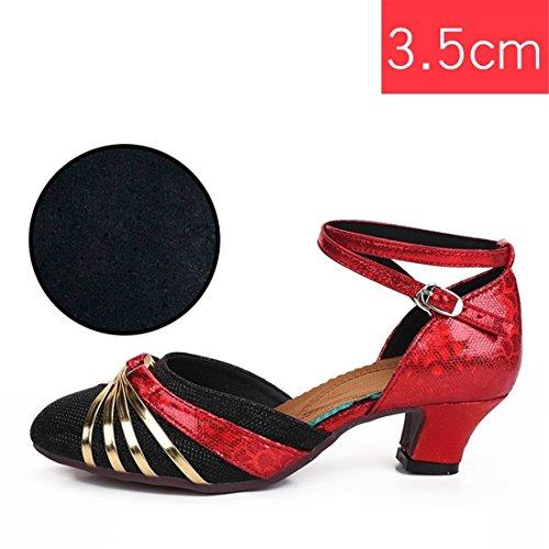 Wxmddn Ladies'scarpe balletti scarpe danza scarpe tango ginnastica danza jazz scarpe danza allenatori scarpe pratica performance Dance scarpe per ragazze donne Nero e oro rosso 3.5 cm interni