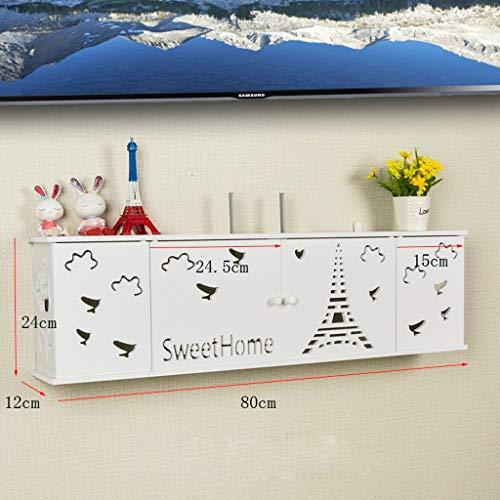 Routeur WiFi Set Top Box Etagère De Rangement Chambre Salon Etagère Murale Multifonctionnel Présentoir Étagère Flottante Socket Cordon D'alimentation Boîte De Rangement (Couleur : E-80CM)