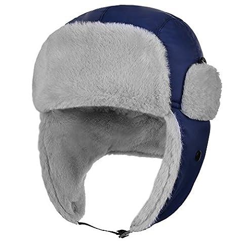 VbigerCasquette de Volet d'Oreille de Trappeur d'Homme de troupe d'Esquimau d'hiver Chapeau d'Esquimaux Chapeau Protège du vent Chapeau de Sports en plein air de Casquette Skiant pour Montée de Randonnées à pied de Ski et Plus (Bleu