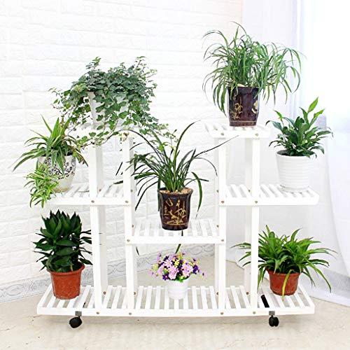 Kapazität Cd-ablage (LANN Blumenständer Bodenstehender 4-stöckiger Blumenständer 12 Töpfe Pflanzenständer aus Holz Gartenständer Ausstellungsregal mit Rädern, Multifunktionsregal Bücherregal, 120x25x80cm (Color : White))