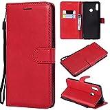 YQXR téléphone Portable Accessoires Etui Portefeuille Alternatif en Cuir de Couleur rétro Solide avec Fentes pour Cartes, Pied de béquille et Fermeture magnétique pour Huawei Nova 3 (Color : Red)