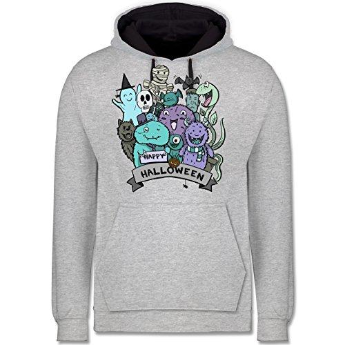 Shirtracer Halloween - Happy Halloween Monster - XL - Grau meliert/Navy Blau - JH003 - Kontrast Hoodie