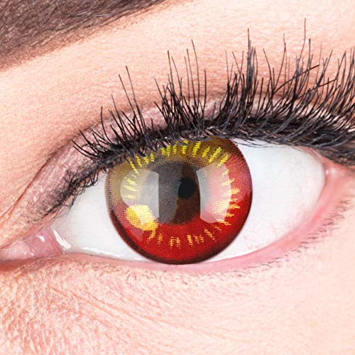 Farbige Rote Kontaktlinsen Anime Red Circle Lenses Heroes Of Cosplay Stark Deckend Ohne Stärke mit gratis Linsenbehälter