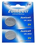 Eunicell 2 x CR2032 3V Lithium Knopfzelle 210 mAh (1 Blistercard a 2 Batterien) Markenware