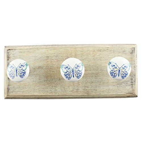 indianshelf handgefertigt Deko Artistic blau Schmetterling Holz Utility Vintage Wandhaken Schlüssel Handtücher Halterungen Zubehör Badezimmer Kleiderbügel Standard blau (Blau Utility Shelf)