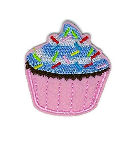 Blau Sweet Cupcake Cartoon bestickt Nähen Eisen auf Patch Cartoon Nähen Eisen auf bestickte Applikation Craft handgefertigt Baby Kid Girl Frauen Tücher DIY Kostüm Zubehör