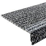 etm Stufenmatten - Sicherheitsstufenmatten für Außentreppen - grau-melliert, 25x73cm, mit Winkel