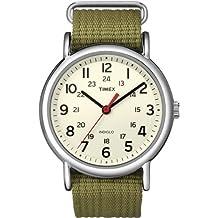 Timex Special Weekender Slip Through - Reloj análogico de cuarzo con correa de nailon unisex, color verde/beige