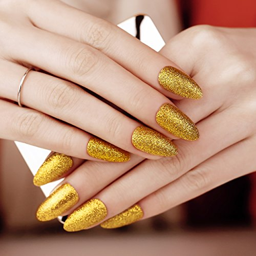 ArtPlus Faux Ongles 24pcs x 2 (2-Pack) Gold Glitter False Nails with Glue Full Cover Stilleto 2 Boxes in 1 Fake Nails Art