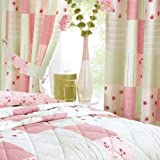 """Vintage Style Pink Patchwork Readymade Curtains 66"""" x 72"""""""