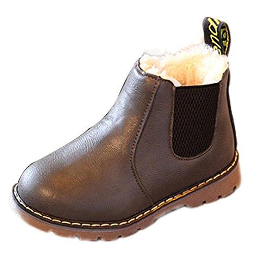 HUHU833 Kinder Mode Jungen Mädchen Stiefel Martin Stiefel Winter Schnee Warm Ankle Boots Zipper Kinder Chelsea Schuhe (30, Grau)