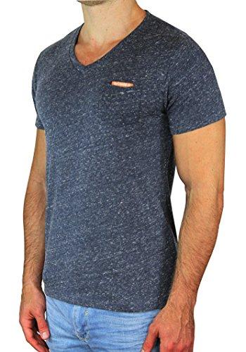 M.Conte Herren Fitness T-Shirt Sportstyle Kurzarm Tee Stickerei Logo V-Kragen mit Brust Tasche Grau Schwarz Marine Navy Hell Blau M L XL XXL Carl Schwarz Black XXL (Marine-blau-prime T-shirt)
