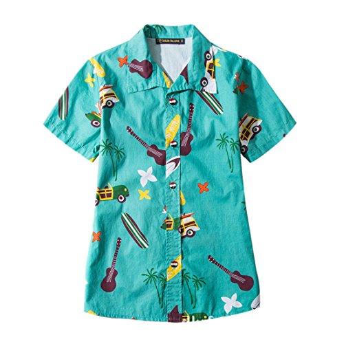 QIYUNZ-HombresMujeres-Ocasionales-Impresas-Playa-Camisa-Manga-Corta-Camisas-De-Hawaii