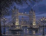 Landschaft Einfach Farbe Zahlen Erwachsene Leinen Leinwand, DIY Malerei mit Pinsel und Acryl Pigment Keine Mischung Kein Mischen London Tower Bridge fantastische Bilder Malerei 16x20 Zoll Rahmenlos