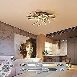 HIL Profilierte Minimalistische Postmoderne Nordische Wohnzimmer-LED-Deckenleuchte, Aluminium-Kaffee-LED-Deckenleuchte Mit Mehreren Köpfen, Dimmbare Acryl-Deckenleuchte,53 * 12cm/43w