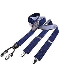 DonDon Herren Hosenträger 3,5 cm breit 4 Clips mit braunem Leder in Y-Form elastisch und längenverstellbar