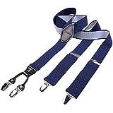 DonDon hombres tirantes 3,5 cm ancho 4 clips con piel cuero marrón de forma Y elástico y con longitud ajustable azul obscuro blanco con lunares