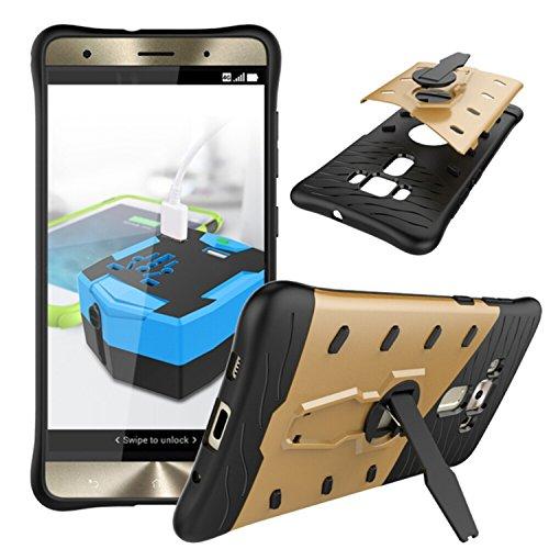 YHUISEN Hybrid Tough Rugged Dual Layer Rüstung Schild Schützende Shockproof mit 360 Grad Einstellung Kickstand Case Cover für ASUS ZenFone 3 Deluxe ZS570KL ( Color : Black ) Gold