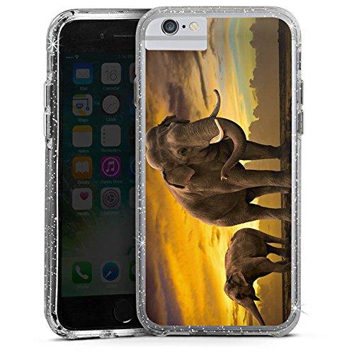 Apple iPhone 6s Plus Bumper Hülle Bumper Case Glitzer Hülle Elefant Elefanten Sonnenuntergang Bumper Case Glitzer silber