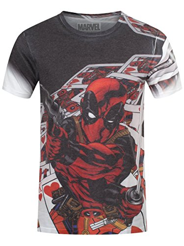 Deadpool Men & # 39; s Marvel Cards Dye sub maglietta bianco White XL/ 107 cm- 112 cm