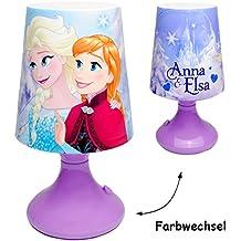 """LED Tischlampe - """" Disney die Eiskönigin - Frozen """" - mit Farbwechsel - Batteriebetrieben - SCHNURLOS & Kabellos - 19 cm hoch - Tischleuchte für Kinder / Nachtlicht Schlummerlicht - Einschlafhilfe - Nachtleuchte Kinderzimmer - Mädchen & Jungen - Nachttischlampe Lampe Stehlampe / für Kinder - Nachtlampe - völlig unverfroren Prinzessin Elsa Anna Arendelle - Olaf - Batterie betrieben - Tischlampen / Kinderlampe - Kunststoff Plastik"""