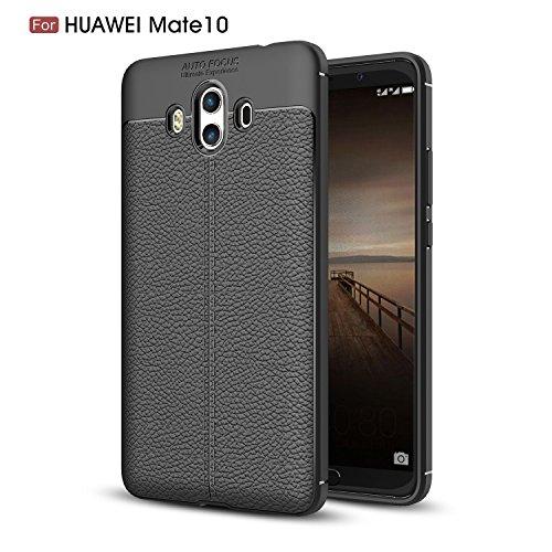 Huawei Mate 10 Hülle, TopACE Slim PU Weiches Leder Stoßsicheres Gehäuse Flexiblem TPU Silikon Hybrid Schutzhülle Tasche Slim-Fit Case für Huawei Mate 10 (Schwarz)