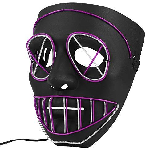 Máscara de Halloween Iluminar LED, Máscara Fantasmas Calabaza Miedo, Máscara de Cosplay Halloween