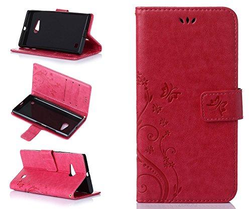 ZeWoo Folio Ledertasche - R155 / Schmetterling und Blume (rot) - für Nokia Lumia 730 / Lumia 735 PU Leder Tasche Brieftasche Case Cover