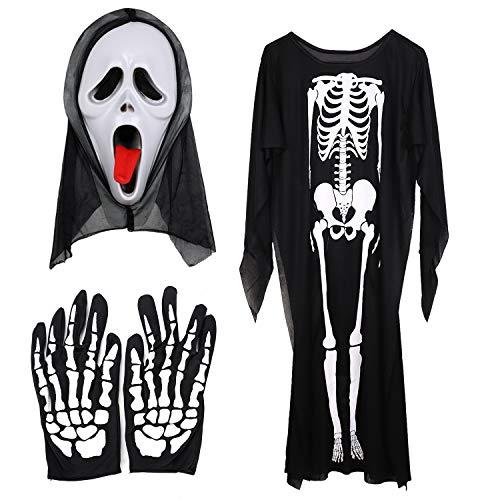 Halloween Maskerade Kostüm Set Halloween Kostüm Skelett Handschuhe Schädel Gesichtsmaske Geist Knochen Kleidung für Erwachsene Halloween Tanz Kostüm Horror Fasching Karneval Party Cosplay (Hip Hop Tanz Kostüm Für Jugendliche)