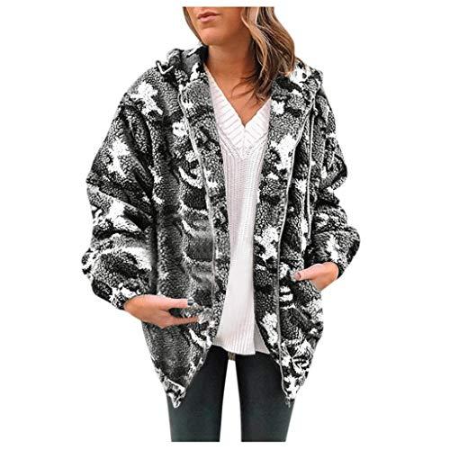 Mymyguoe Damen Winter Warm Fleece Camouflage Mit Taschen Reißverschluss Warm Mit Kapuze Plüschmantel Damen Outwear Sweatshirt Frauen Mädchen mit Kapuze Jacken Kleidung Outwear -