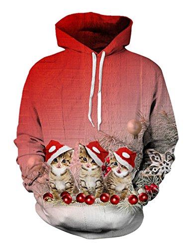 Bfustyle Unisex Neuheit 3D Realistische Digital Print Hoody Hässliche Weihnachten Pullover Fleece Hoodie (Jungs Hässlich Pullover Weihnachten)