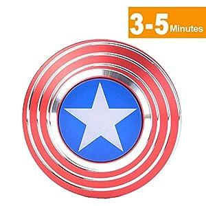 iVoler 360 Metal Hand Spinner Fidget Jouet Captain America Marvel Super Heroe Shield Réducteur de Stress En Alliage D'titane 3-5 Minutes Spins Rotation Très Stable Grande Vitesse Métal Main Spinner Ultra Résistants Taille de Poche EDC Toy Cadeau Parfait pour Enfant & Adulte, Se Relaxer et Se Concentrer,ADHD Autism for Killing Time - # 2
