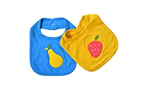 Shumee Organic Cotton Juicy Fruit Baby Bibs(0 Months+) - Set of 2