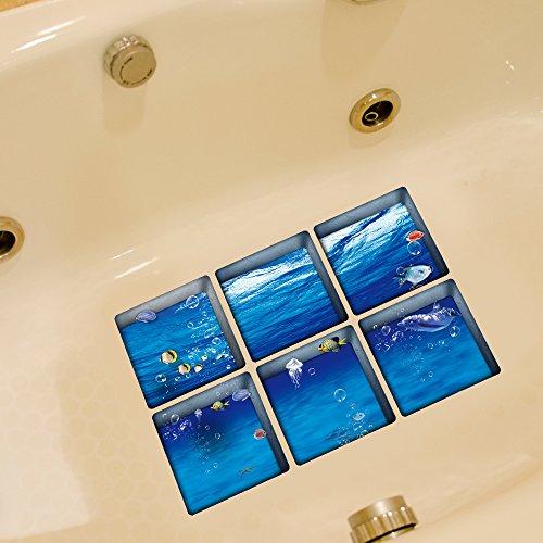 Weare Home Ozean und Meerestier Muster Serie von 6 Stück Deko Design Kreativ Anti Rutsch Sticker für Sicherheit Kinder für Badewanne, je Stück 14.5×14.5cm