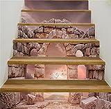 MIYI Treppen-Aufkleber 3D DIY Refurbished Retro Steinsäulen Fliesenaufkleber Entfernbar Wasserdicht Aufkleber Haus Dekoration , A